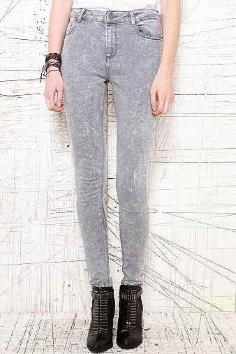 BDG Grey Acid Wash High Rise Ankle Cigarette Jeans