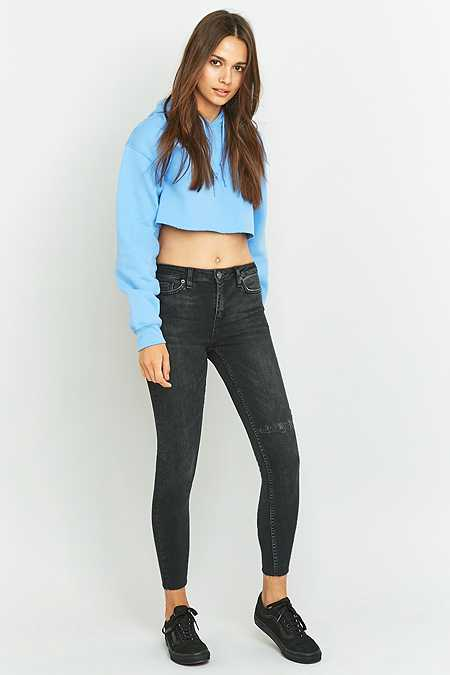 BDG Breeze Mid-Rise Worn Black Cropped Skinny Jeans