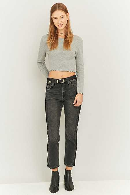 BDG Side Striped Straight Leg Black Jeans