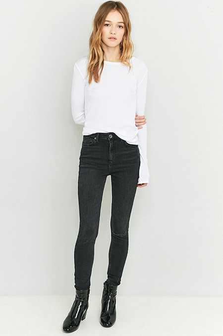 """BDG – Extreme High-Rise-Skinny-Jeans """"Pine"""" in verwaschenem Schwarz"""