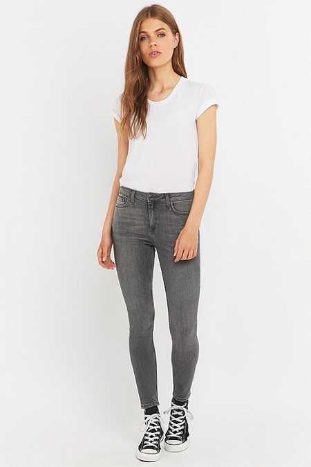 BDG Breeze Mid-Rise Worn Grey Skinny Jeans