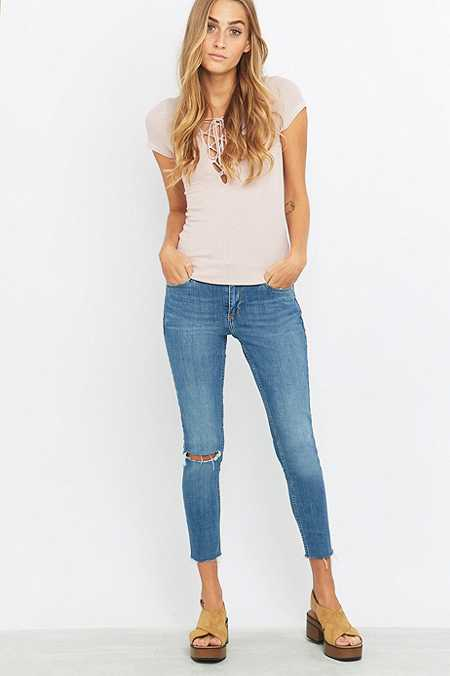 BDG Breeze Mid-Rise Ripped Light Blue Cropped Skinny Jeans