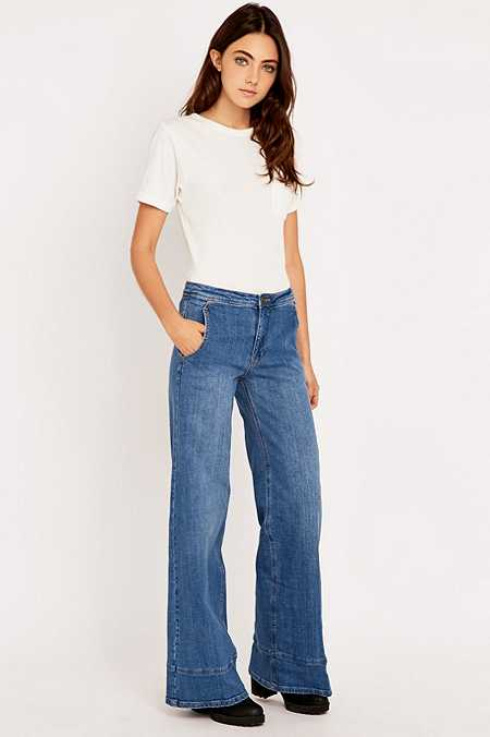 Free People High Waisted Blue Flared Jeans