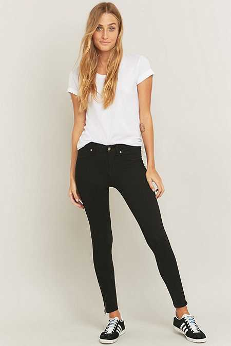 Dr. Denim Domino Zipper Black Skinny Jeans