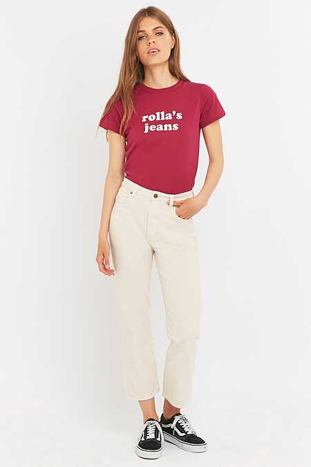 Rolla's Original Cream Straight-Leg Jeans