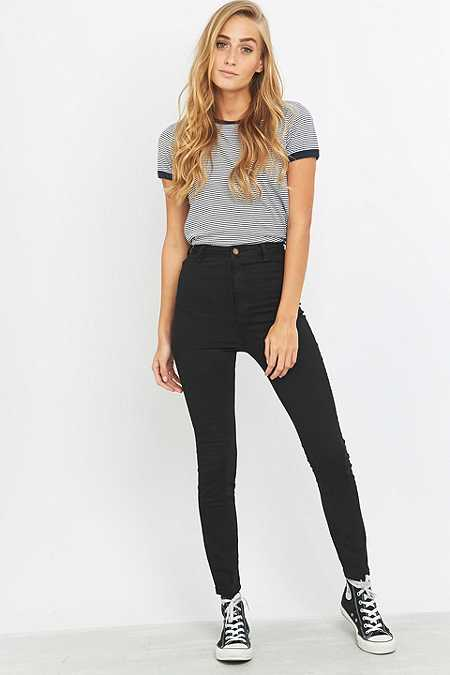 Rolla's Scorpion High-Waisted Black Skinny Jeans