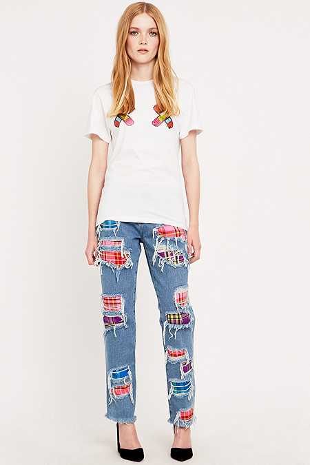House of Holland Tartan Blue Boyfriend Jeans