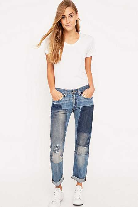 Denim & Supply Ralph Lauren Patched Blue Boyfriend Jeans