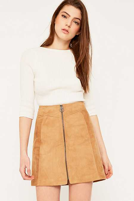 Selected Femme Lusy Camel Suede Skirt