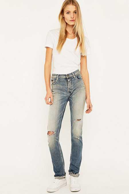 Calvin Klein Jeans – Enge Boyfriend-Jeans in Blau mit Rissen