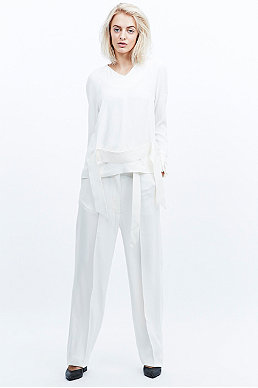 Carin Wester Ciara Crepe Trousers in Ivory