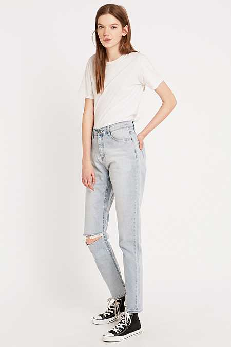 Cheap Monday Donna Ripped Extra Mile Blue Straight Leg Jeans