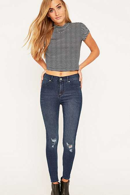Cheap Monday Spray On High Waisted Blue Skinny Jeans