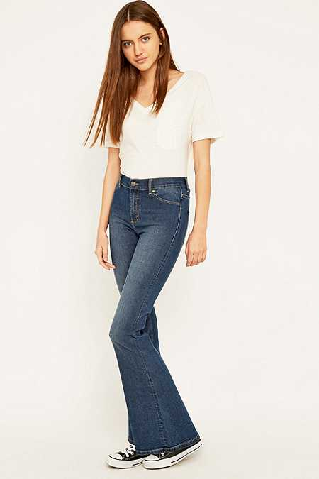 Cheap Monday Spray On High Waisted Blue Flared Jeans