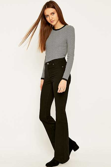 Cheap Monday Spray On High Waisted Black Flared Jeans