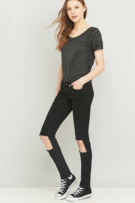 Cheap Monday Slim Ripped Black Skinny Jeans