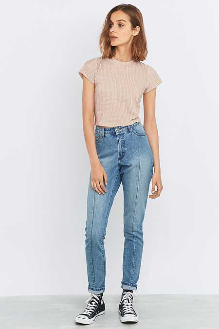 Cheap Monday Donna Mid Blue Seamed Straight Leg Jeans