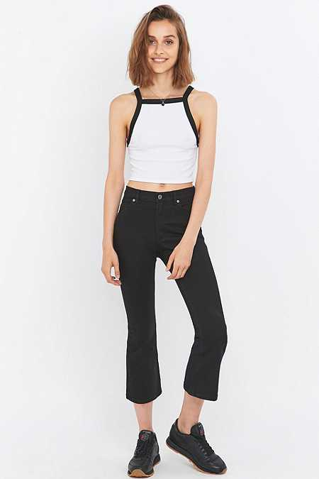 Free People Drift Black Cropped Kick Flare Jeans