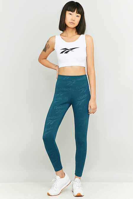 Reebok – Leggings in Türkis mit Logos