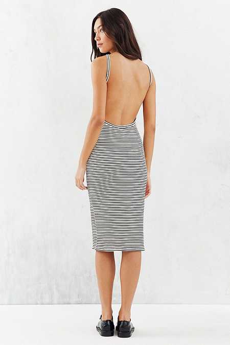 Silence + Noise Harness Strap Open Back Black and White Midi Dress