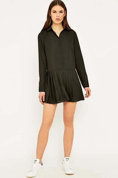 Lucca Couture Pleated Skirt Shirtdress