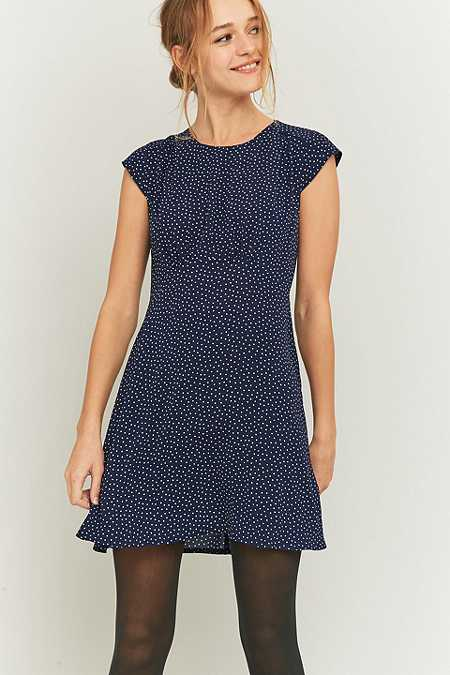 Urban Outfitters Daytime Polka Dot Navy Dress