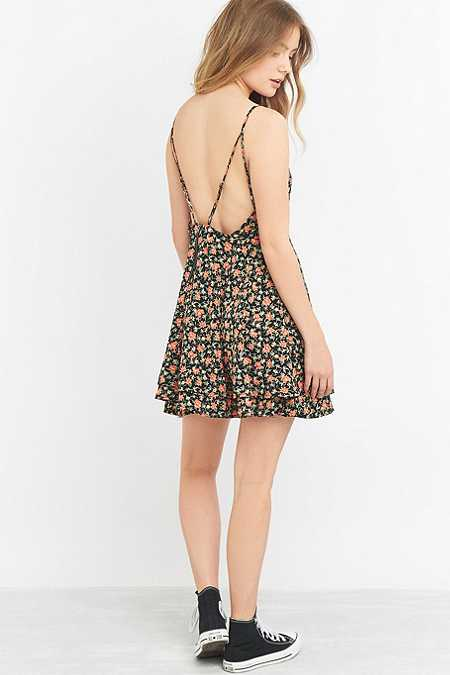 Pins & Needles Button-Front Fit and Flare Black Floral Dress