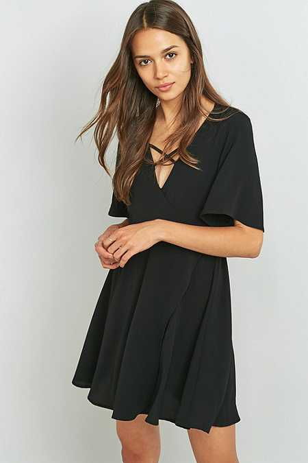 Pins & Needles Cross Front Black Wrap Dress