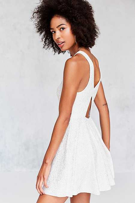 Silence + Noise Sinderella Ivory Sparkle Mini Dress