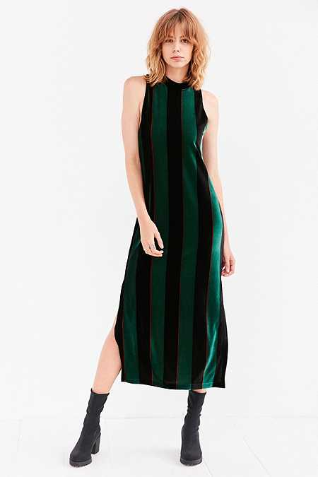 Silence + Noise Madison Green Striped Velvet Mock-Neck Maxi Dress