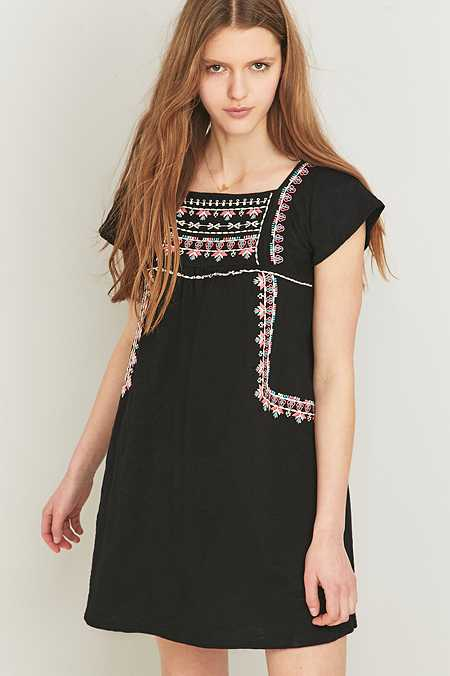 Staring at Stars Embroidered Smock Black Dress