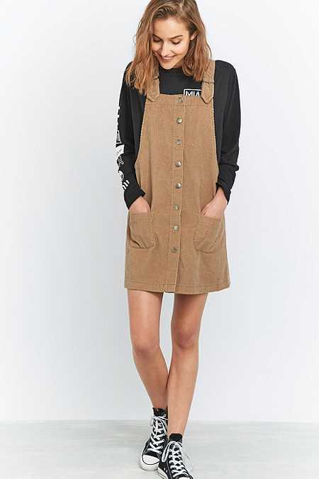 Urban Outfitters Button-Down Corduroy Pinafore Dress