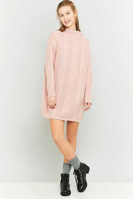 Pins & Needles Pink Cable Knit Jumper Dress