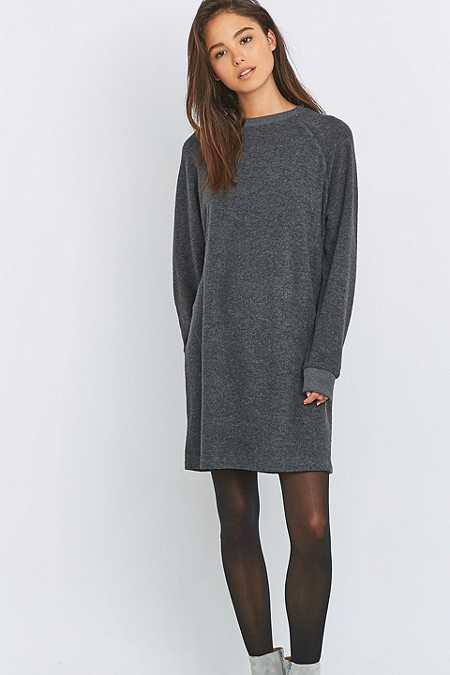 BDG Towelling Grey Sweatshirt Dress