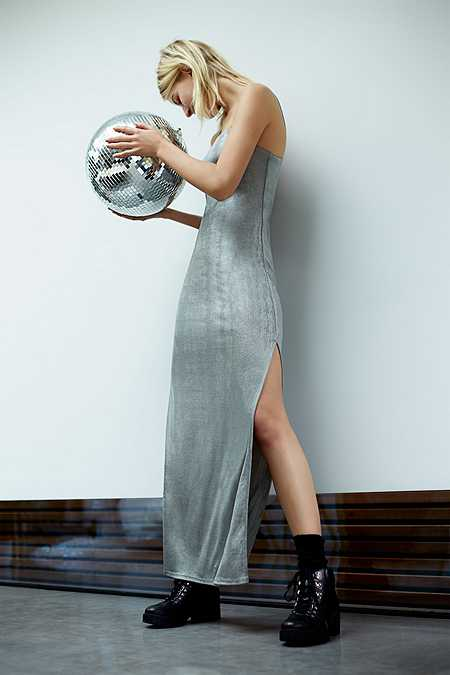 Silence + Noise Posh Metallic Silver Maxi Dress