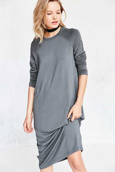Silence + Noise Mason Grey Midi Sweatshirt Dress