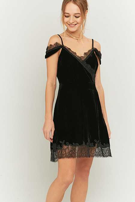 Pins & Needles Black Velvet and Lace Wrap Dress