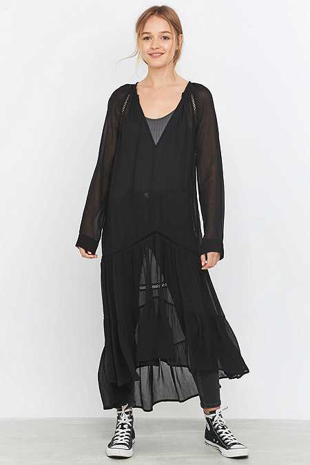 Pins & Needles Sheer Drop Waist Black Dress