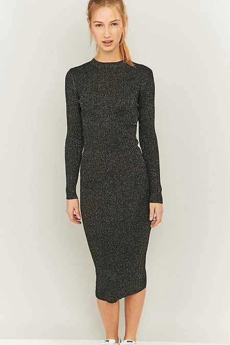 Pins & Needles Silver Lurex Turtleneck Midi Dress
