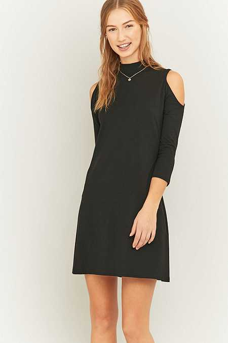 Sparkle & Fade Cold Shoulder Black T-Shirt Dress