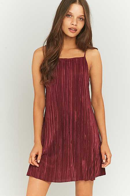 Pins & Needles Solid Pleated Slip Dress