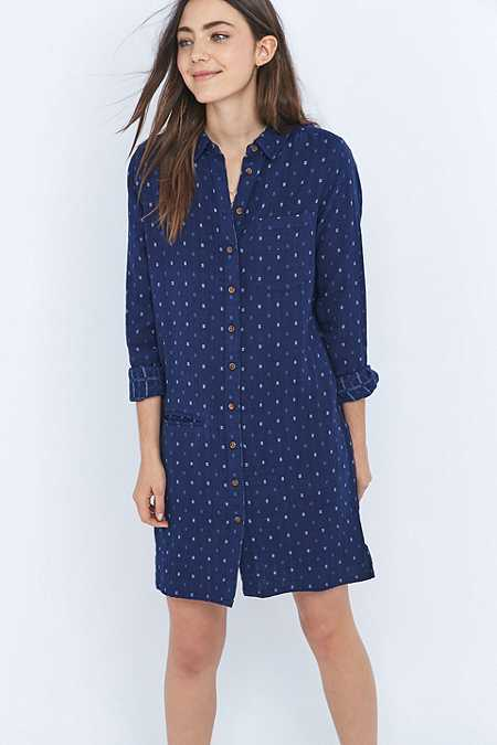 BDG Printed Blue Double-Cloth Shirt Dress