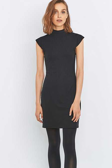 Sparkle & Fade Mock Neck Ribbed Black Dress