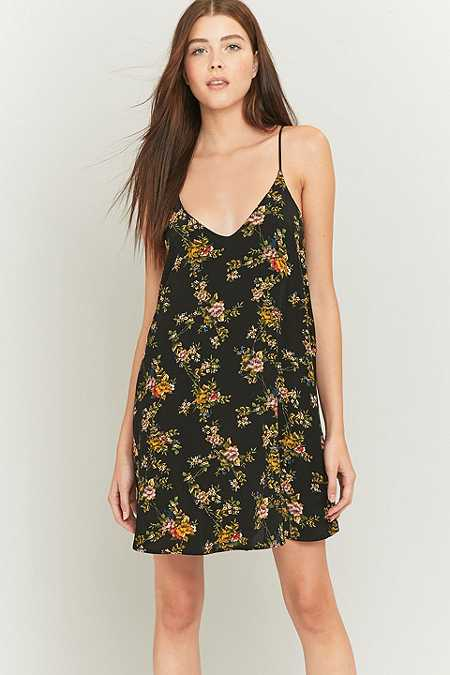 Pins & Needles Floral Black Slip Dress