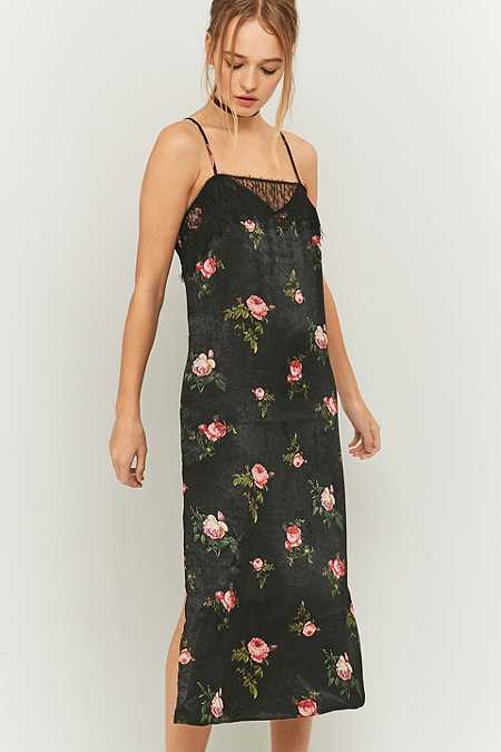 Pins & Needles Floral and Lace Black Satin Midi Slip Dress