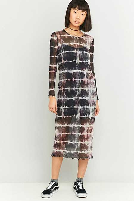 Sparkle & Fade - Robe midi en voile effet tie-dye noire