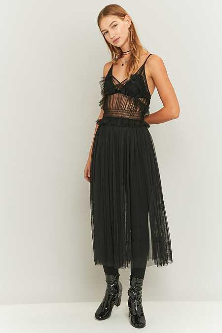Sparkle & Fade Black Mesh Layering Midi Dress