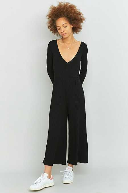 Sparkle & Fade Long Sleeve Black Culottes Jumpsuit