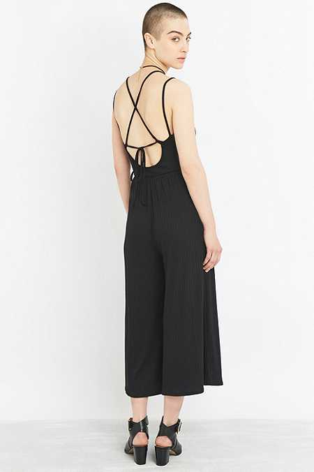 Sparkle & Fade Ribbed Black Culottes Jumpsuit