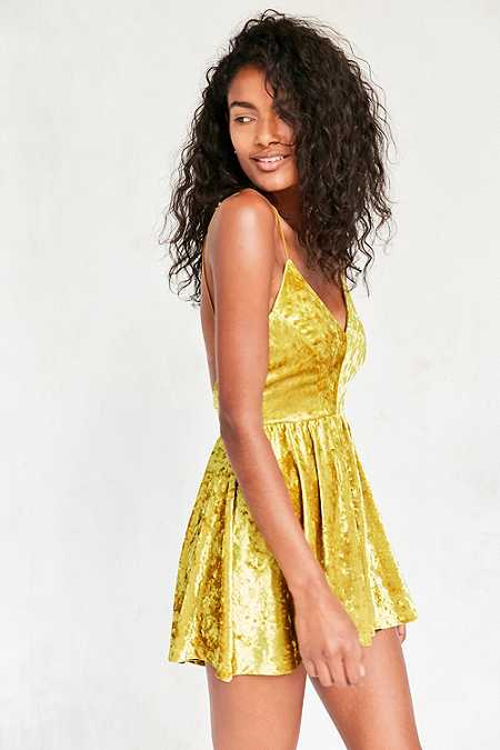 Silence + Noise Vanessa Crushed Bright Yellow Velvet Fit and Flare Playsuit